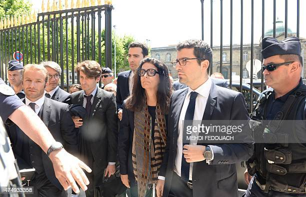 Françoise BettencourtMeyers daughter of France's richest woman Liliane Bettencourt arrives with her children JeanVictor and Nicolas on May 28 2015 in...