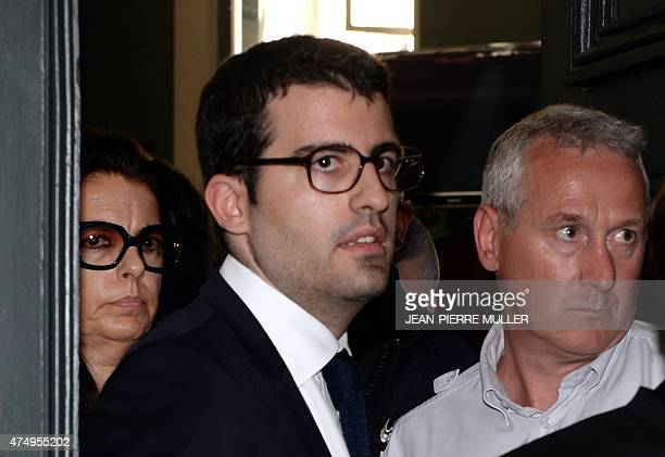 Françoise BettencourtMeyers daughter of France's richest woman Liliane Bettencourt and his son JeanVictor leave on May 28 2015 at the Bordeaux...