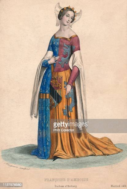 Françoise d'Amboise, Duchess of Brittany', circa 1840. Portrait of the Blessed Françoise d'Amboise, duchess of Brittany . She wears a tiara of stars,...