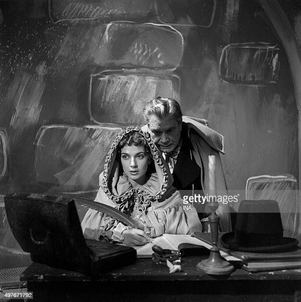 Françoise Spira and Henri Nassiet in a scene of the drama realized by Maurice Cazeneuve 'the Knight of MaisonRouge'