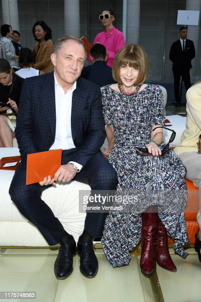 FrançoisHenri Pinault and Anna Wintour attend the Bottega Veneta fashion show during the Milan Fashion Week Spring/Summer 2020 on September 19 2019...