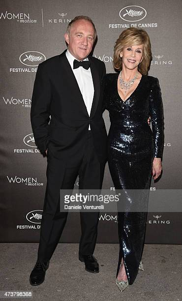 François-Henri Pinault and Jane Fonda attend the Kering Official Cannes Dinner at Place de la Castre on May 17, 2015 in Cannes, France.