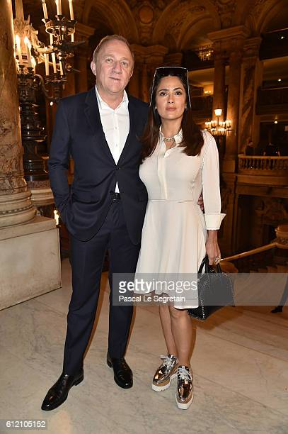 FrançoisHenri Pinault and Salma Hayek attend the Stella McCartney show as part of the Paris Fashion Week Womenswear Spring/Summer 2017 on October 3...