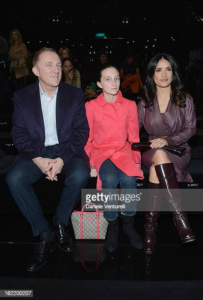 FrançoisHenri Pinault Mathilde Pinault and Salma Hayek attend the Gucci fashion show as part of Milan Fashion Week Womenswear Fall/Winter 2013/14 on...
