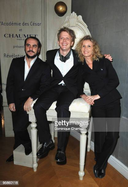 Françoisxavier Demaison Actor Alex Lutz and actor Actress Alexandra Lamy Attend the Chaumet's cocktail party for Cesar's Revelations on January 18...
