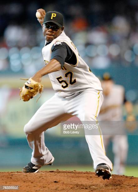 Franquelis Osoria of the Pittsburgh Pirates pitches in the sixth inning against the Houston Astros August 26 2007 at Minute Maid Park in Houston Texas