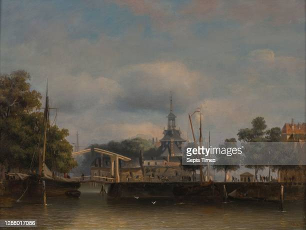Frans Breuhaus de Groot, Ooster Oudehoofdpoort, view from the Wijnhaven in the direction of the Oude Haven and Haringvliet, cityscape painting art...