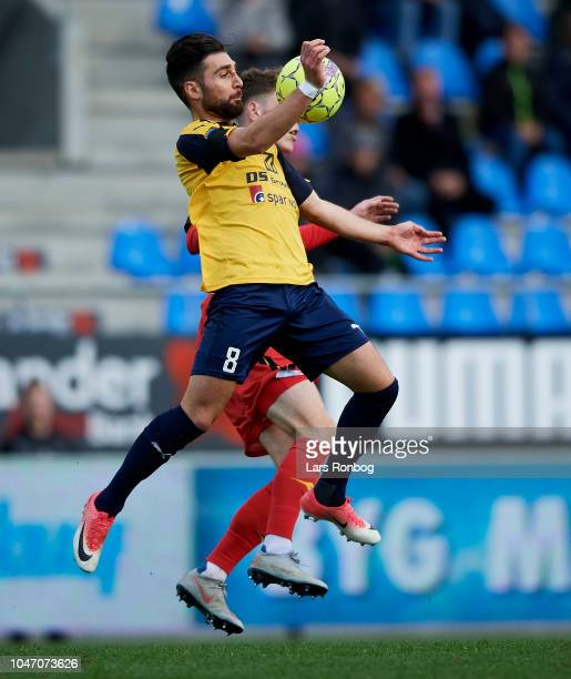 Frans Dhia Putros of Hobro IK controls the ball during the Danish Superliga match between Hobro IK and FC Nordsjalland at DS Arena on October 7 2018...