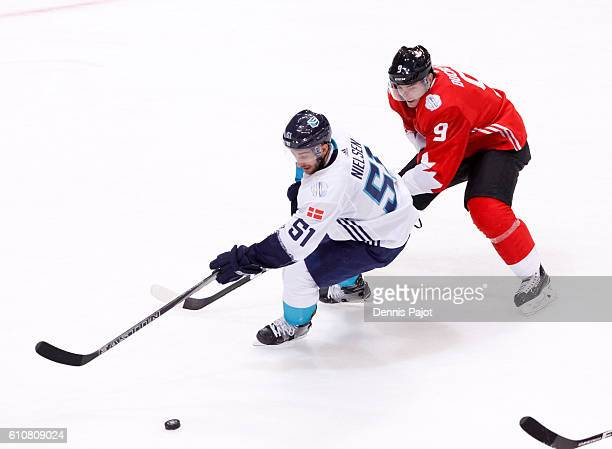 Frans Nielsen of Team Europe carries the puck up the ice while being chased by Matt Duchene of Team Canada during Game One of the World Cup of Hockey...