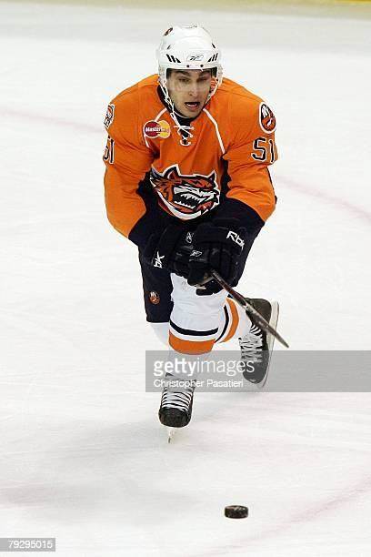 Frans Nielsen of the Bridgeport Sound Tigers skates with the puck during the first period against the Philadelphia Phantoms on January 23, 2008 at...