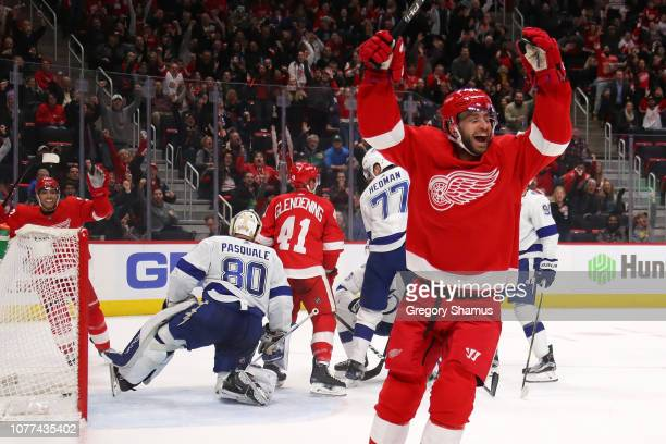 Frans Nielsen of the Detroit Red Wings celebrates his second period goal third of the game while playing the Tampa Bay Lightning at Little Caesars...