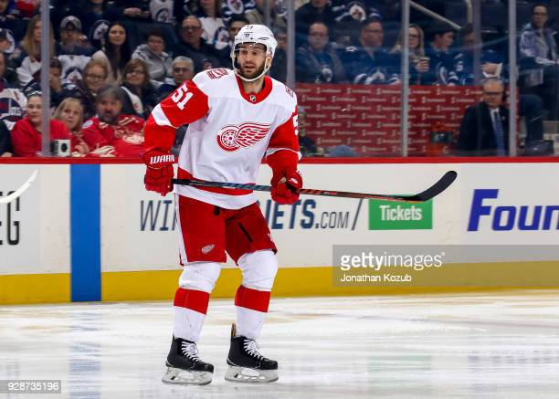 Frans Nielsen of the Detroit Red Wings keeps an eyeon the play during first period action against the Winnipeg Jets at the Bell MTS Place on March 2...