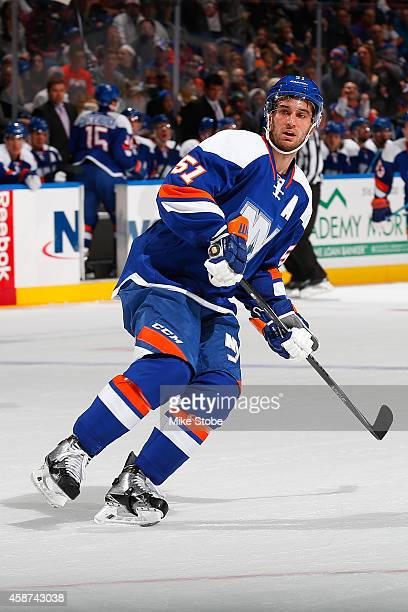 Frans Nielsen of the New York Islanders skates against the Dallas Stars at Nassau Veterans Memorial Coliseum on October 25 2014 in Uniondale New York...
