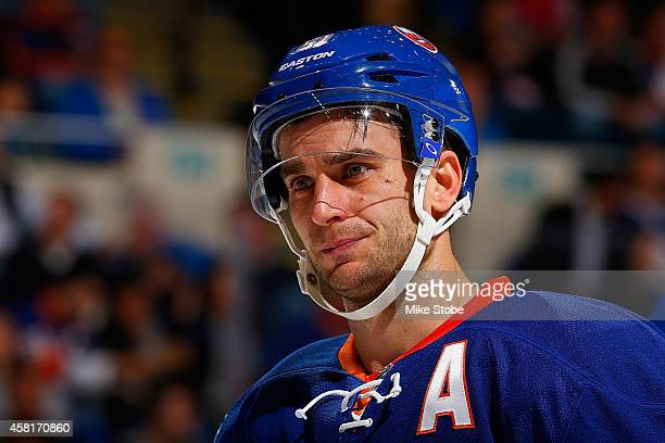 Frans Nielsen of the New York Islanders skates against the Toronto Maple Leafs at Nassau Veterans Memorial Coliseum on October 21 2014 in Uniondale...