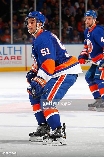 Frans Nielsen of the New York Islanders skates against the Winnipeg Jets at Nassau Veterans Memorial Coliseum on October 28 2014 in Uniondale New...