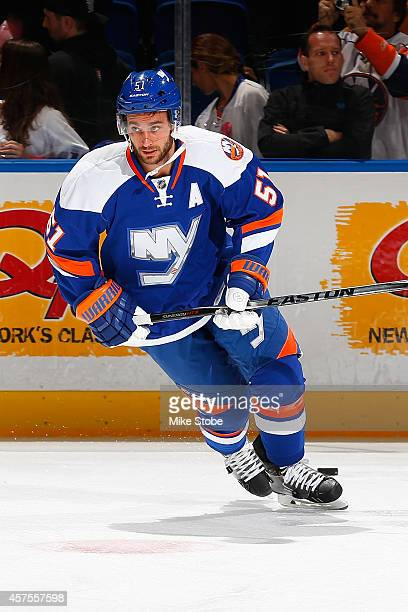 Frans Nielsen of the New York Islanders skates during warmups prior to their game against the San Jose Sharks at Nassau Veterans Memorial Coliseum on...