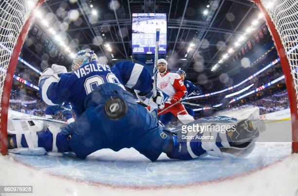 Frans Nielsen the Detroit Red Wings scores a goal against goalie Andrei Vasilevskiy of the Tampa Bay Lightning during first period at Amalie Arena on...