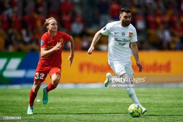 Frans Putros of Viborg FF in action during the Danish 3F Superliga match between FC Nordsjalland and Viborg FF at Right to Dream Park on July 18,...