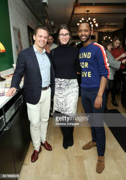 Frans Sjo Carla Mastroianni and Awet Woldegebriel attend the I Feel Pretty VIP screening brought to you by Luna Bar on April 17 2018 in New York City