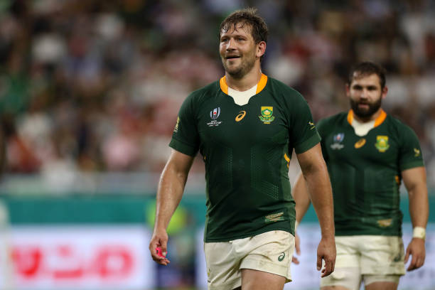 KOBE, JAPAN - OCTOBER 08: Frans Steyn of South Africa looks on during the Rugby World Cup 2019 Group B game between South Africa and Canada at Kobe Misaki Stadium on October 08, 2019 in Kobe, Hyogo, Japan. (Photo by Francois Nel - World Rugby/World Rugby via Getty Images)