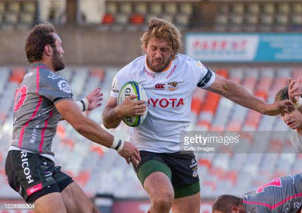 Frans Steyn of Toyota Cheetahs and Eddie Fouche of Pakisa Pumas during the Super Rugby Unlocked match between Toyota Cheetahs and Phakisa Pumas at...