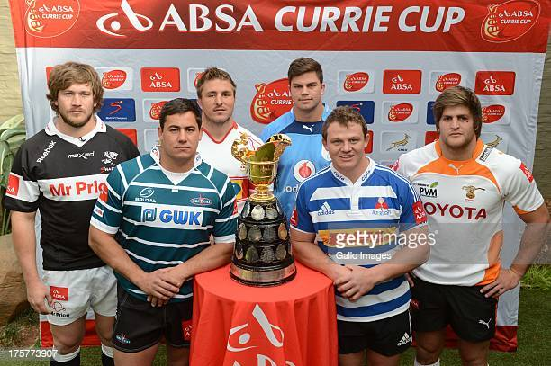 Frans Steyn Ryno Barnes Derick Minnie Jono Ross Deon Fourie and Boom Prinsloo pose during the Six Absa Currie Cup captain's photoshoot session at...