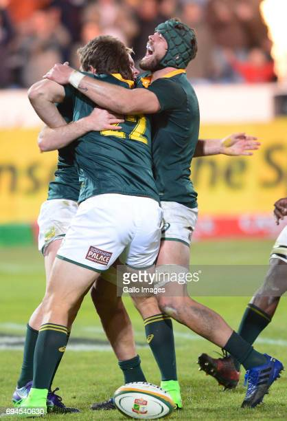 Frans Steyn Warren Whiteley and Ross Cronje of the Springboks celebrate during the Castle Lager Incoming Series 1st Test between South Africa and...
