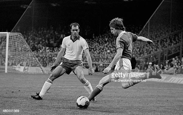 Frans Thijssen in action for Ipswich Town during the UEFA Cup Final 1st Leg between Ipswich Town and AZ Alkmaar at Portman Road in Ipswich 6th May...