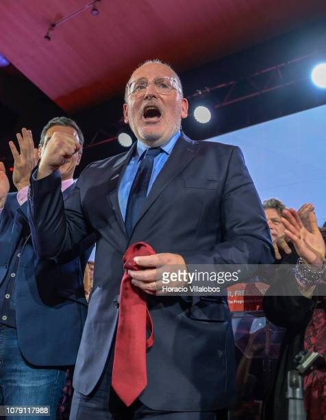 Frans Timmerman PES Common Candidate Designate to preside European Commission jubilates at the end of his closing remarks at the Party of European...