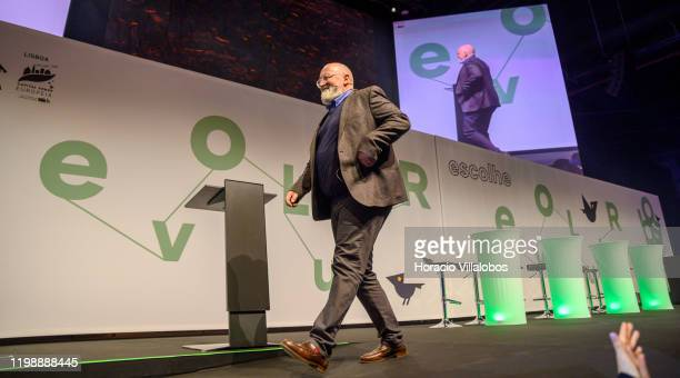 Frans Timmermans European Commission VicePresident and leader of European Green Deal project leaves at the end of his speech on climate change and...