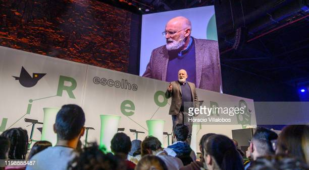 Frans Timmermans European Commission VicePresident and leader of European Green Deal project delivers remarks on climate change and ecology during...