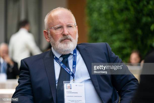 Frans Timmermans first vicepresident of the European Commission listens during the Ambrosetti Forum in Cernobbio Italy on Friday Sept 7 2018 The...