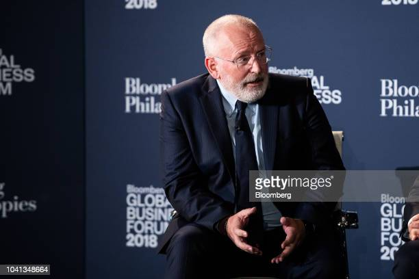 Frans Timmermans first vicepresident of the European Commission speaks during the Bloomberg Global Business Forum in New York US on Wednesday Sept 26...