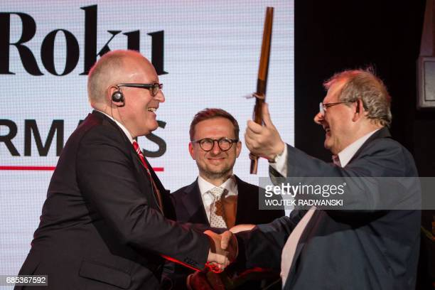 Frans Timmermans first vicepresident of the European Commission receives the prize for the Man of the Year of Gazeta Wyborcza one of the biggest...