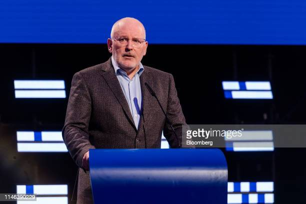 Frans Timmermans lead candidate of the Party of European Socialists speaks to members of the media inside the hemicycle of the European Parliament in...