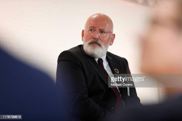 Frans Timmermans on the panel during the Leaders for Nature and People Event at United Nations Headquarters on September 23 2019 in New York City