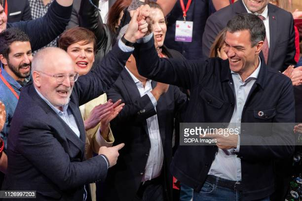 Frans Timmermans PES Common Candidate and Pedro Sanchez Prime Minister of Spain are seen attending the Congress European Socialist Party in Madrid