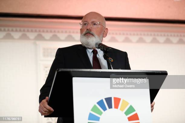 Frans Timmermans speaks during the Leaders for Nature and People Event at United Nations Headquarters on September 23 2019 in New York City