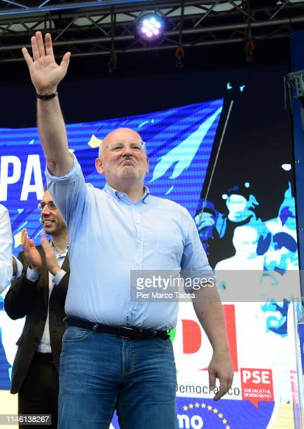 Frans Timmermans Vice President of European Commision greets during a demonstration of Democratic Party ahead of the European elections on March 24...