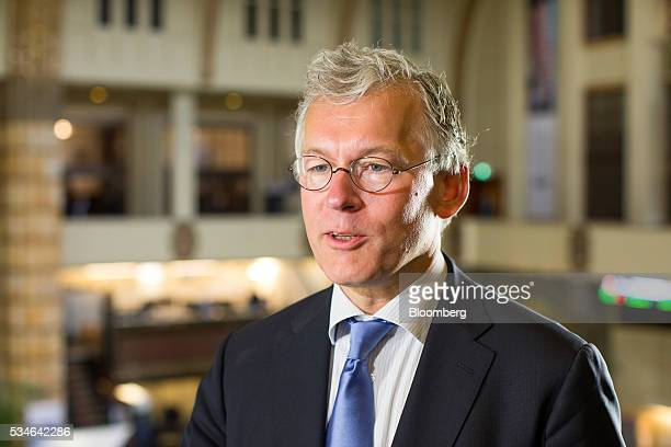 Frans van Houten chief executive officer of Royal Philips NV speaks during an interview after the Philips Lightning NV debut at Amsterdam Stock...