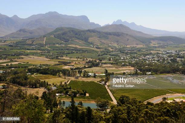 Franschhoek is a small town in the Western Cape Province and one of the oldest towns of the Republic of South Africa Stellenbosch valley from Cape...