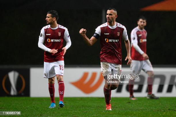 Fransergio of Braga celebrates with teammates after scoring his team's third goal during the UEFA Europa League group K match between Sporting Braga...