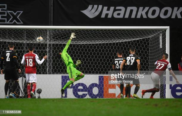 Fransergio of Braga scores his team's third goal during the UEFA Europa League group K match between Sporting Braga and Wolverhampton Wanderers at...