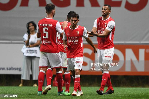 Fransergio of SC Braga celebrates after scores the third goal during the Preseason friendly between SC Braga and Newcastle on August 1 2018 in Braga...