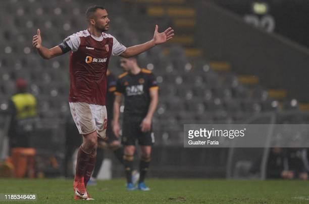 Fransergio of SC Braga celebrates after scoring a goal during the Group K UEFA Europa League match between SC Braga and Wolverhampton Wanderers at...