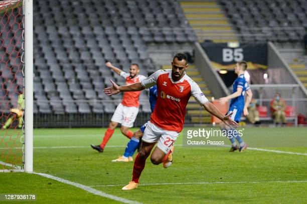 Fransergio of SC Braga celebrates after scoring their sides third goal during the UEFA Europa League Group G stage match between SC Braga and...