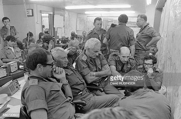 Frantic activity in the war room of the Israeli Southern Command during the Yom Kippur War
