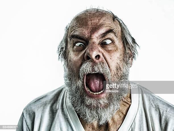 Frantic Senior Man Screaming
