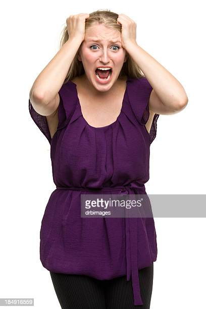 Frantic Young Woman Screaming