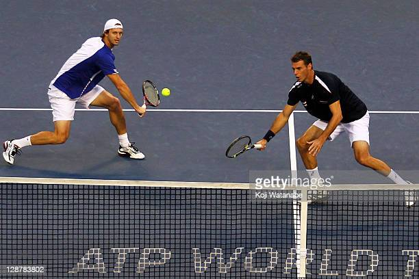 Frantisek Cermak of Czech Republic and Filip Polasek of Slovakia play in their semi final doubles match against Bruno Soares and Marcelo Melo of...